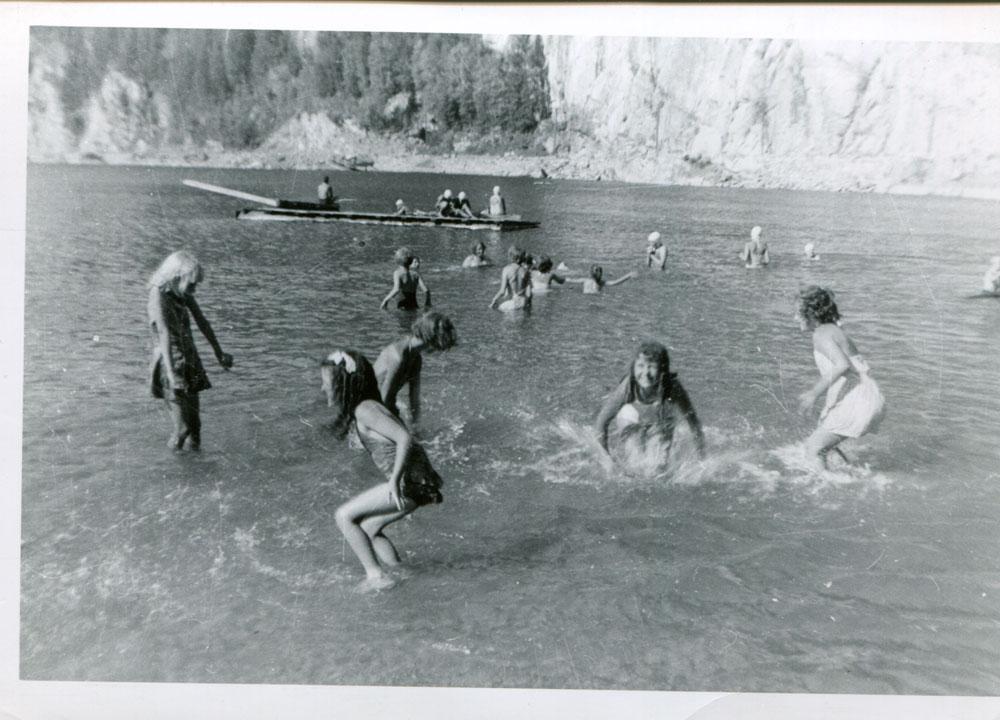 Swimming at the Slocan beach circa 1956