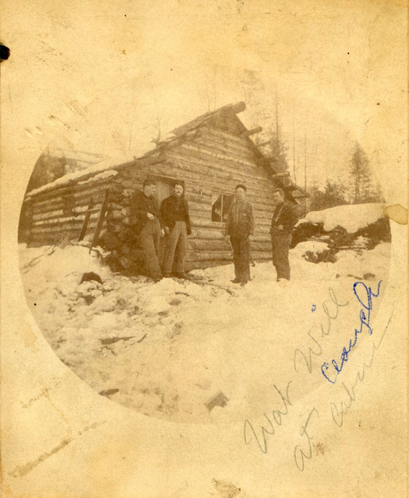 This was one of the first cabins built in Slocan City, just behind where the Lakeview hotel stood. circa 1893