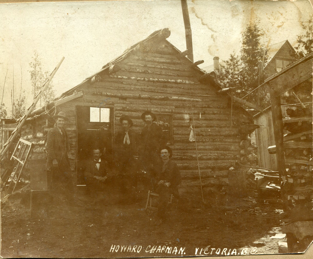 This was the first cabin built by the Clough brothers in Slocan City in 1898. It was located behind Ed Graham's store.