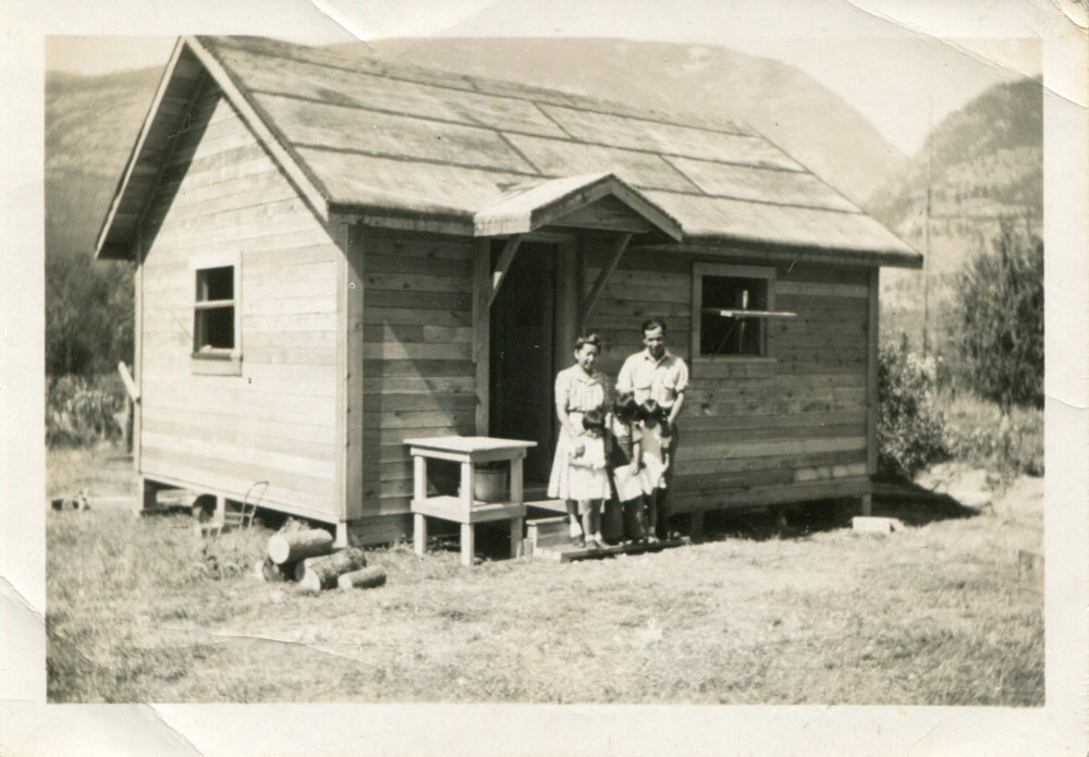 This was the first of the internment houses built on Popoff's farm. It was a one family home, there were very few of them. circa 1942