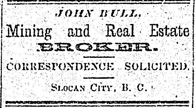 1897 - ad in the Slocan Pioneer newspaper.