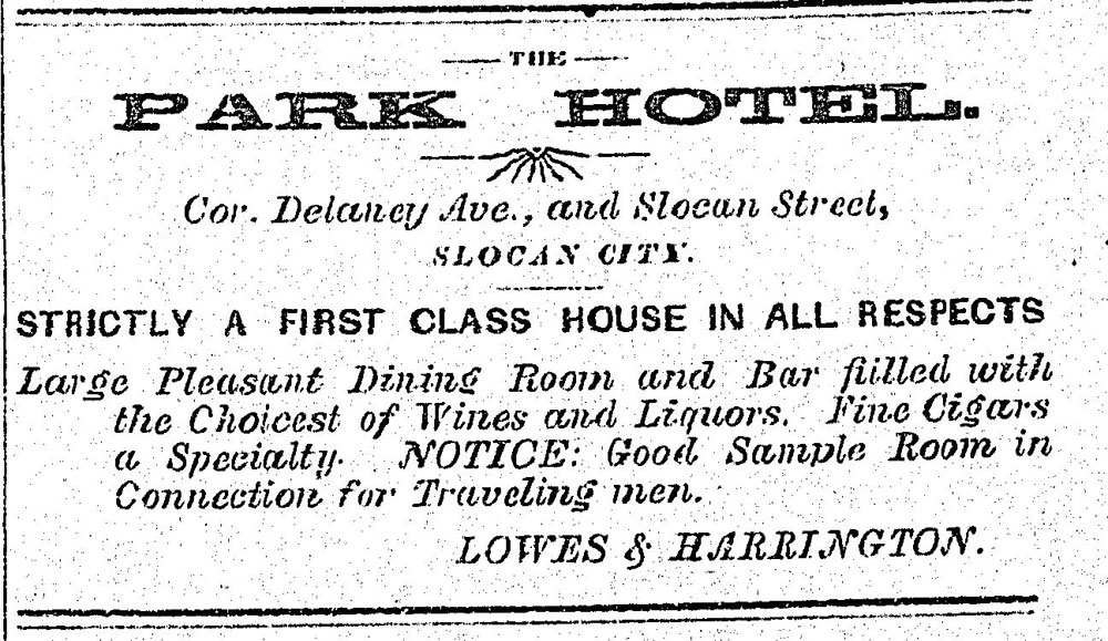 1897 - ad in the Slocan Pioneer newspaper. This hotel was moved from Brandon to Slocan.