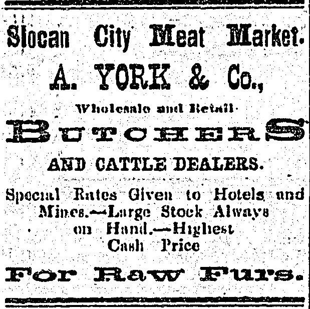 1897 - ad in the Slocan Pioneer newspaper. Archie York was Slocan's first mayor.