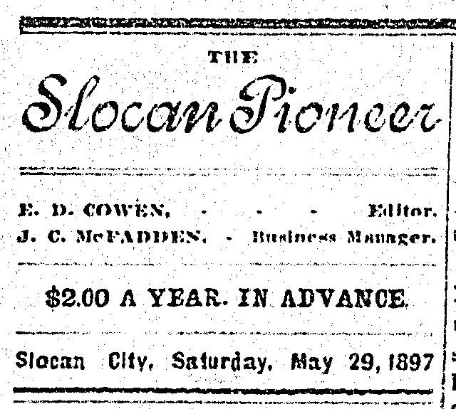 1897 - ad in the Slocan Pioneer newspaper - great price at $2 per year!