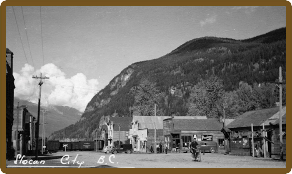 Slocan City Main Street circa 1944 courtesy of BC Archives