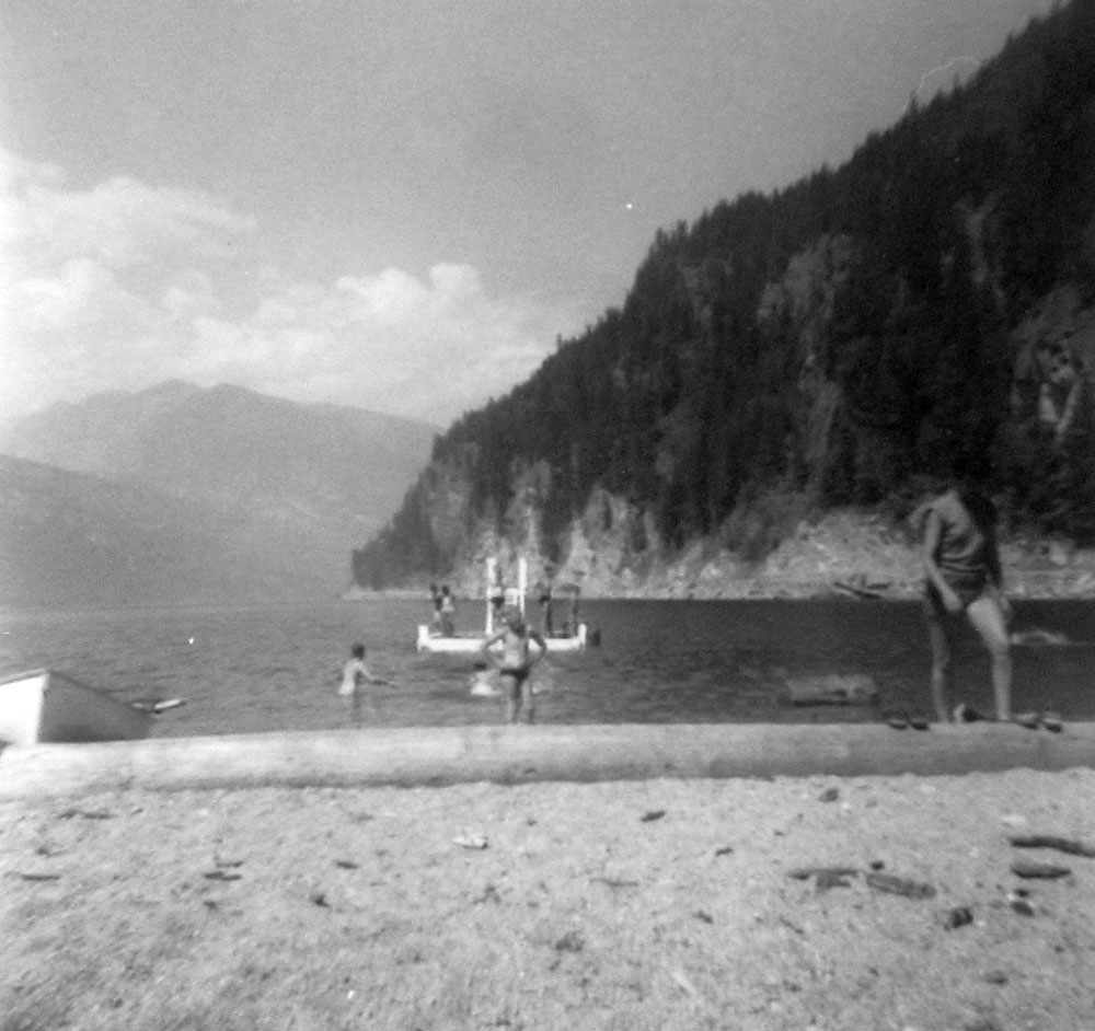 Enjoying the Slocan Beach before the Mill located here, circa 1950s