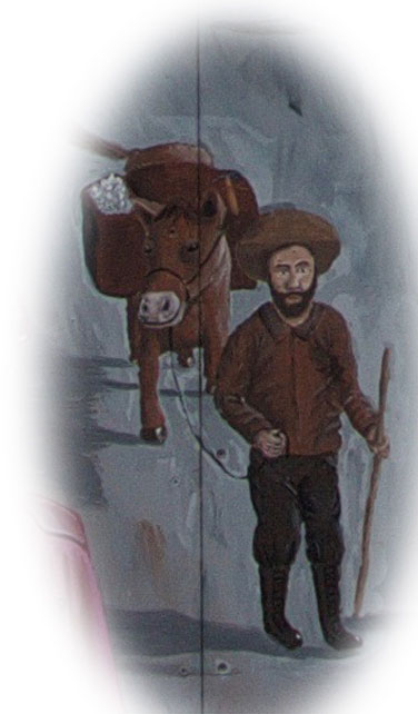 Artist rendition of a miner with a burro.