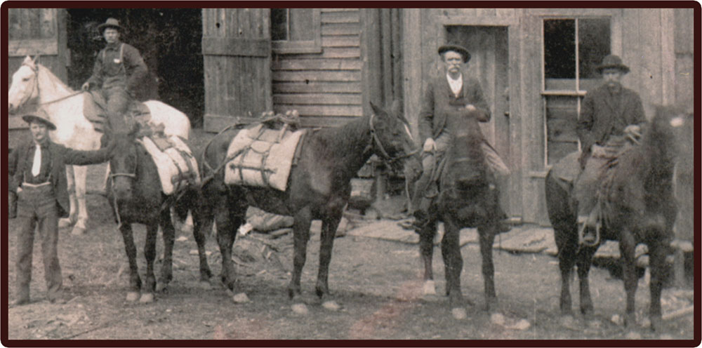 Packtrain in front of the Pioneer Stables circa 1897 compliments of the BC Archives
