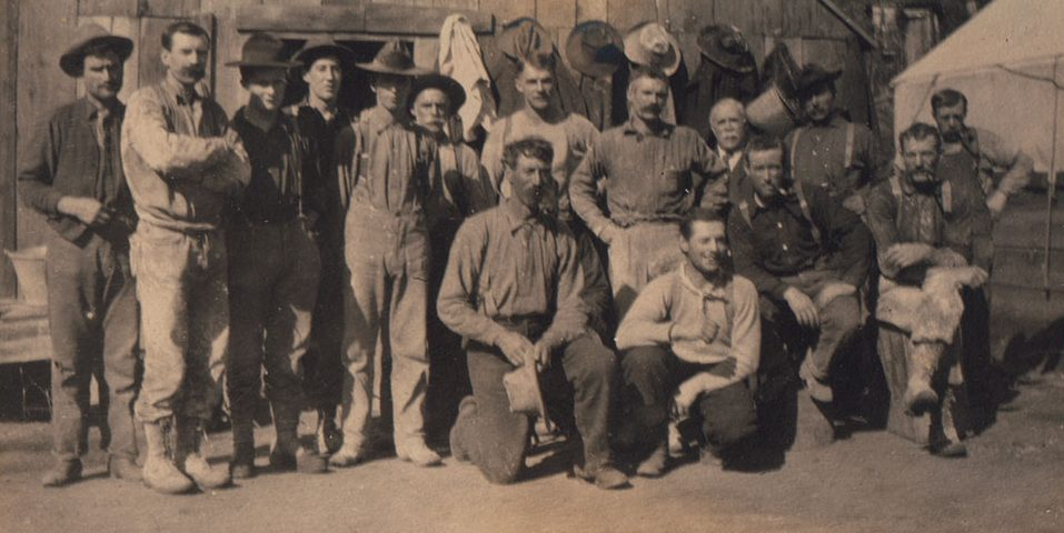 Group of hard working miners at the Enterprise Mine, taking a well earned break, 1908.