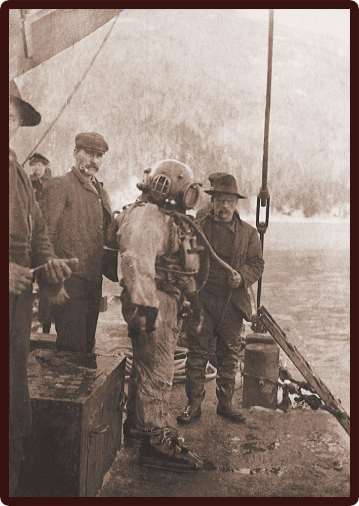 In 1929, divers hoping to recover lost bullion that went into the Slocan Lake in 1903.