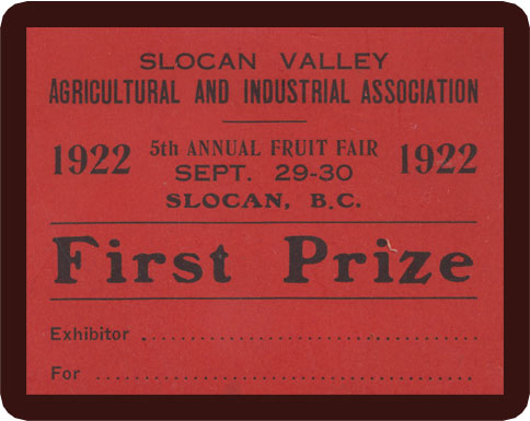 Slocan was the location for the Annual Fruit Fair for many years.