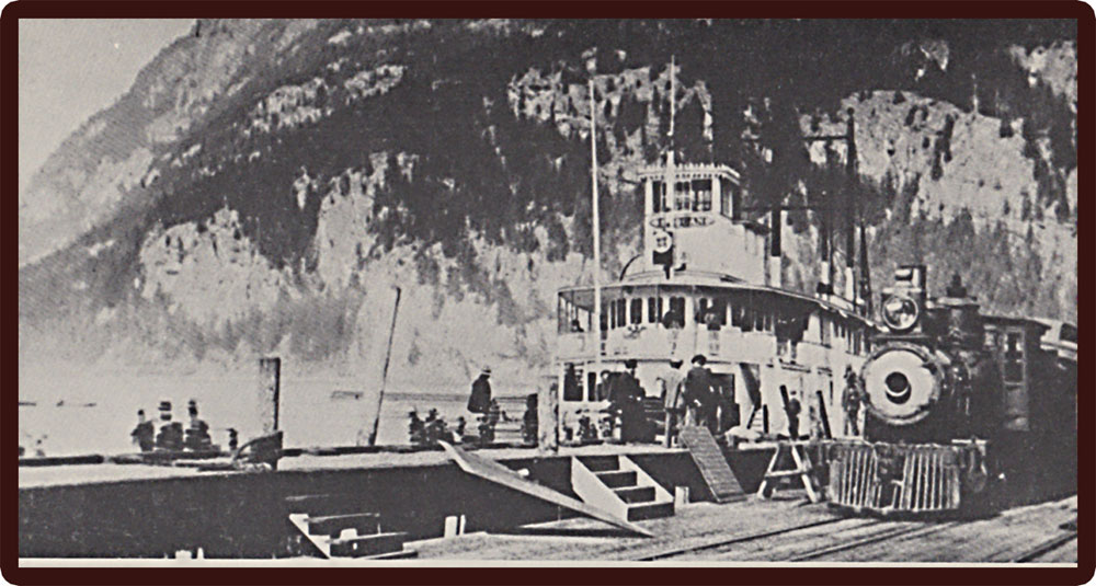 Steamer Slocan at the wharf in Slocan City with CPR engine #402. circa 1897