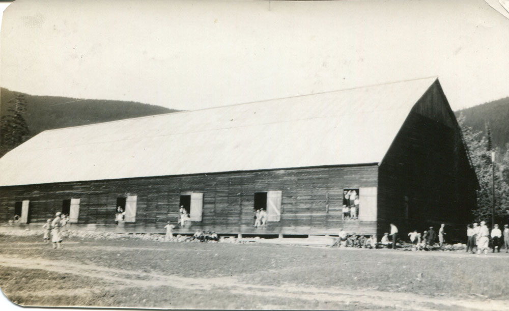 """Agricultural Hall, circa 1920s, """"playing ball on July 1st"""""""