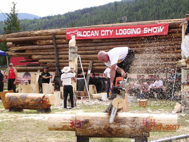Logging Show, note the truck load of logs that would be auctioned off at the end of the day.
