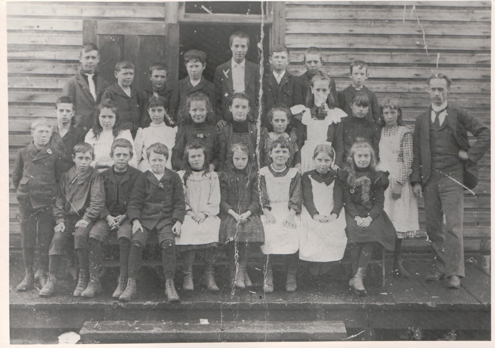 """Slocan City public school in Brandon, circa late 1890s. """"This school was moved across to Slocan and settled on a lot behind the Swan & Reynolds homes approximately 1915-20 and turned into the Roman Catholic Church."""""""