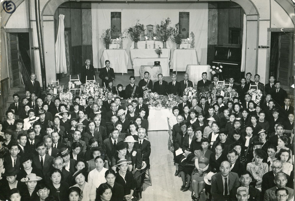 Buddhist funeral circa 1943, took place in the IOOF hall in Slocan