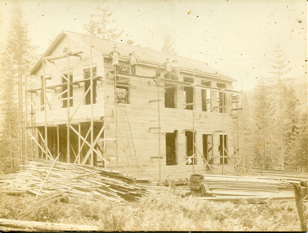 First school built in Slocan circa 1900, this picture hangs in the hall in WE Graham Community School