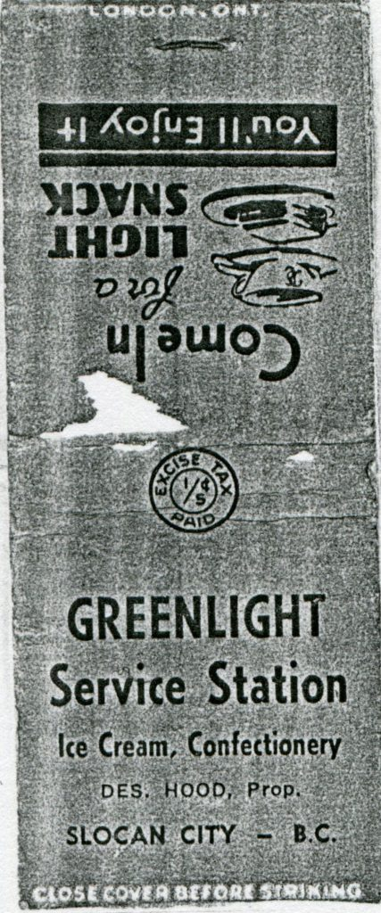 Matchbook cover from the Greenlight Service Station