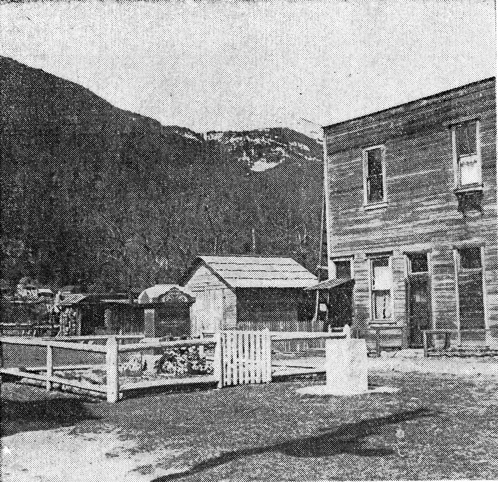 Newspaper photo of the cenotaph just off Main Street in Slocan, circa 1920s