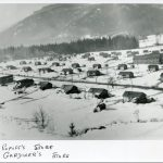 """Popoff Farm in the winter, the """"x"""" marks Popoff's Store and the """"v"""" marks Gardiner's Store"""
