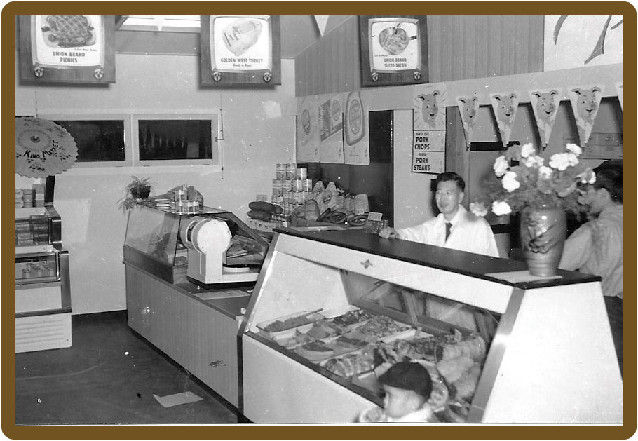 The meat counter in Kino's Market