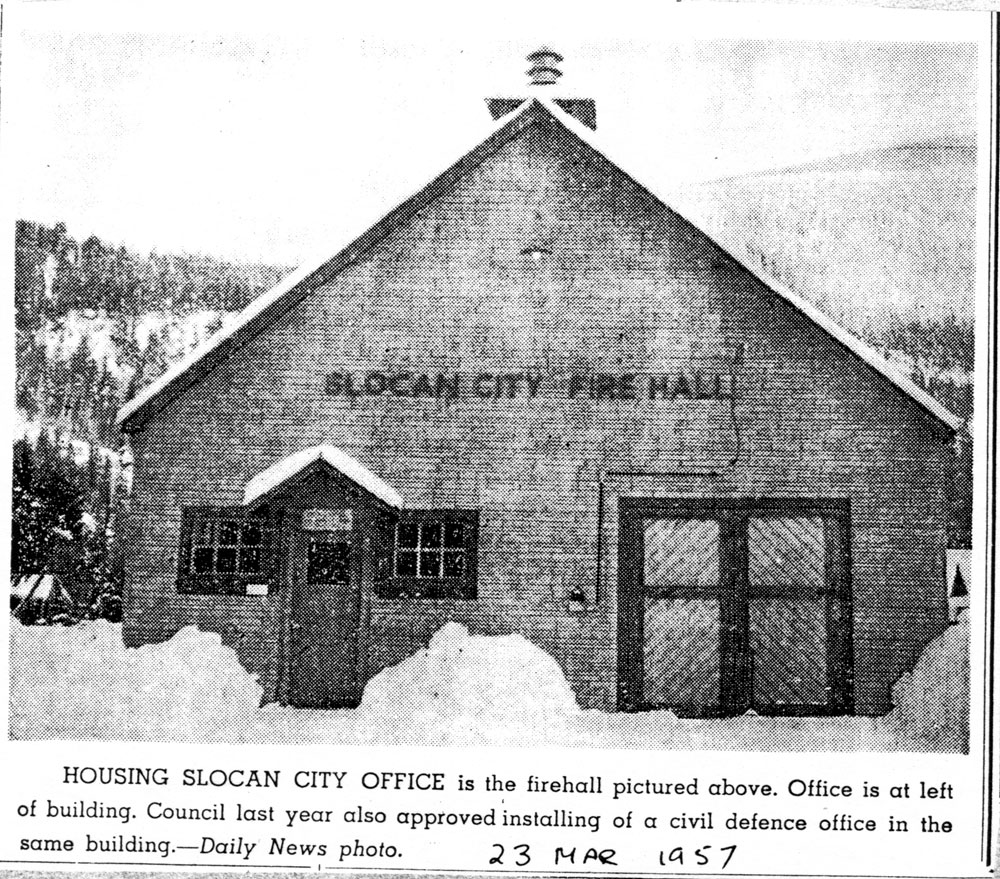 Newspaper picture of the Fire Hall, City Hall and a new defence office all in one building, circa 1957. This building became known as the WI Hall.