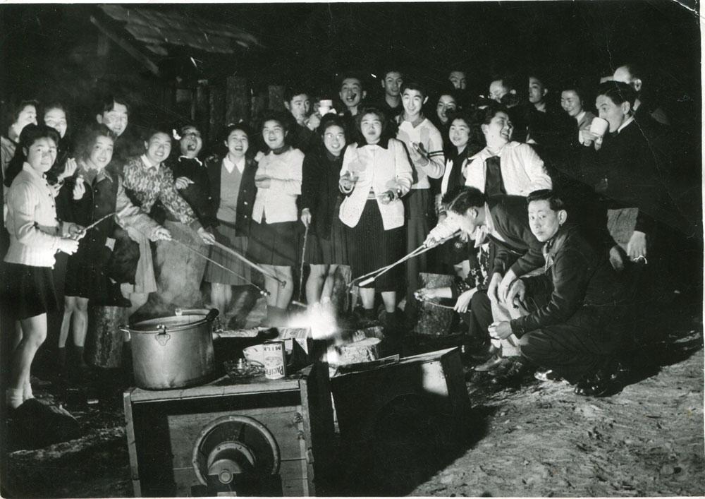 Outdoor Weiner Roast party circa 1944