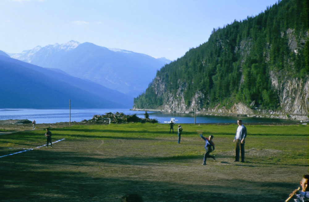 Slocan residents played ball on the shores of Slocan Lake before the Mill set up shop.