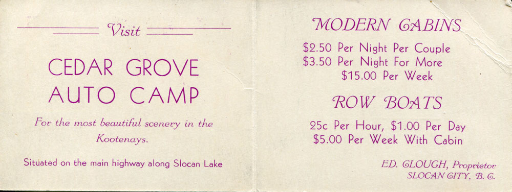 Cedar Grove Auto Camp (aka Clough's Cabins) inside the promotional card