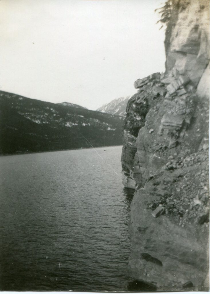 It's a little hard to see but the road is there, hugging the rock cliff! 1928