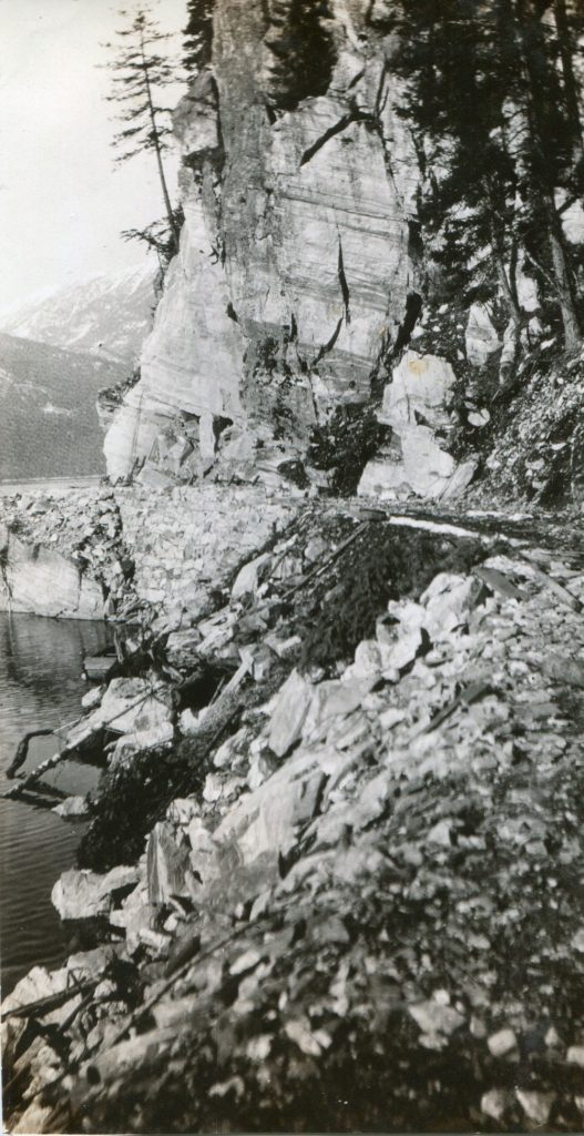 A section of the new Slocan-Silverton road, 1928