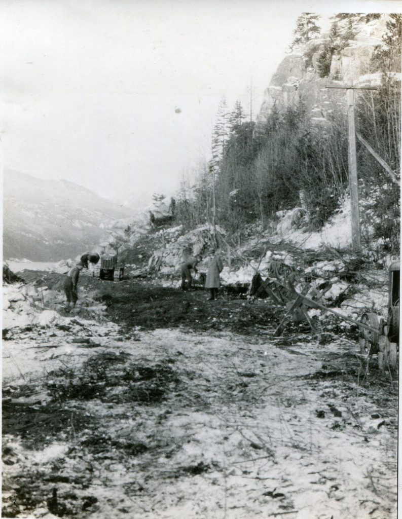 Clearing the area to begin construction of the new road from Slocan to Silverton, January 1927