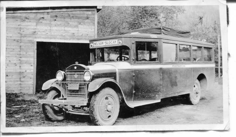 """The Nelson-Slocan Bus, named the """"Patricia"""" and owned by the Camerons, circa 1920s"""