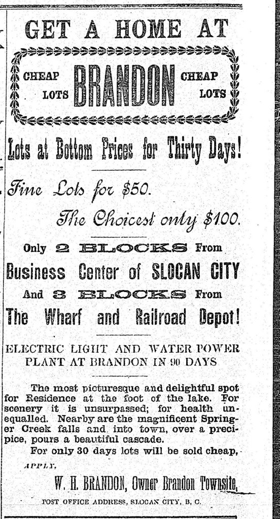 1897 - ad in the Slocan Pioneer newspaper