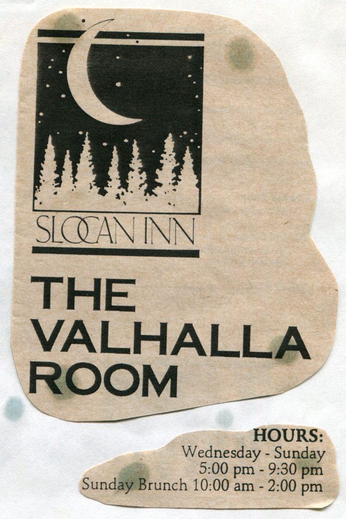 Advertising for the Slocan Inn