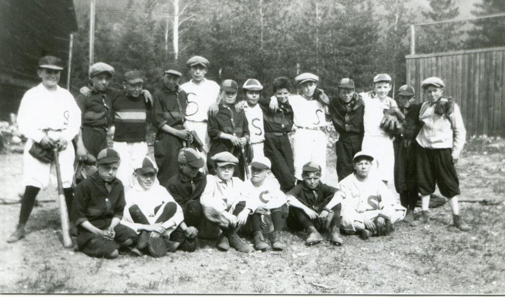 Slocan and Silverton Baseball teams, 3 June 1924. Slocan won the game, 10-7.