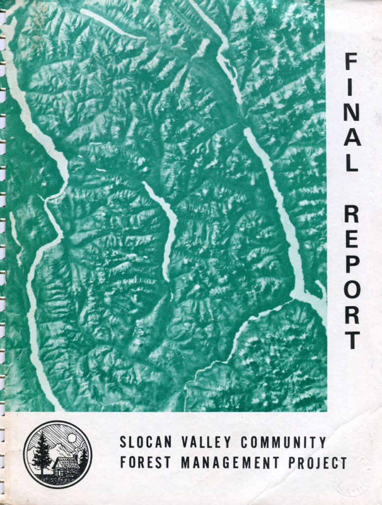 Cover of the Slocan Valley Community Forest Management Project report circa 1975