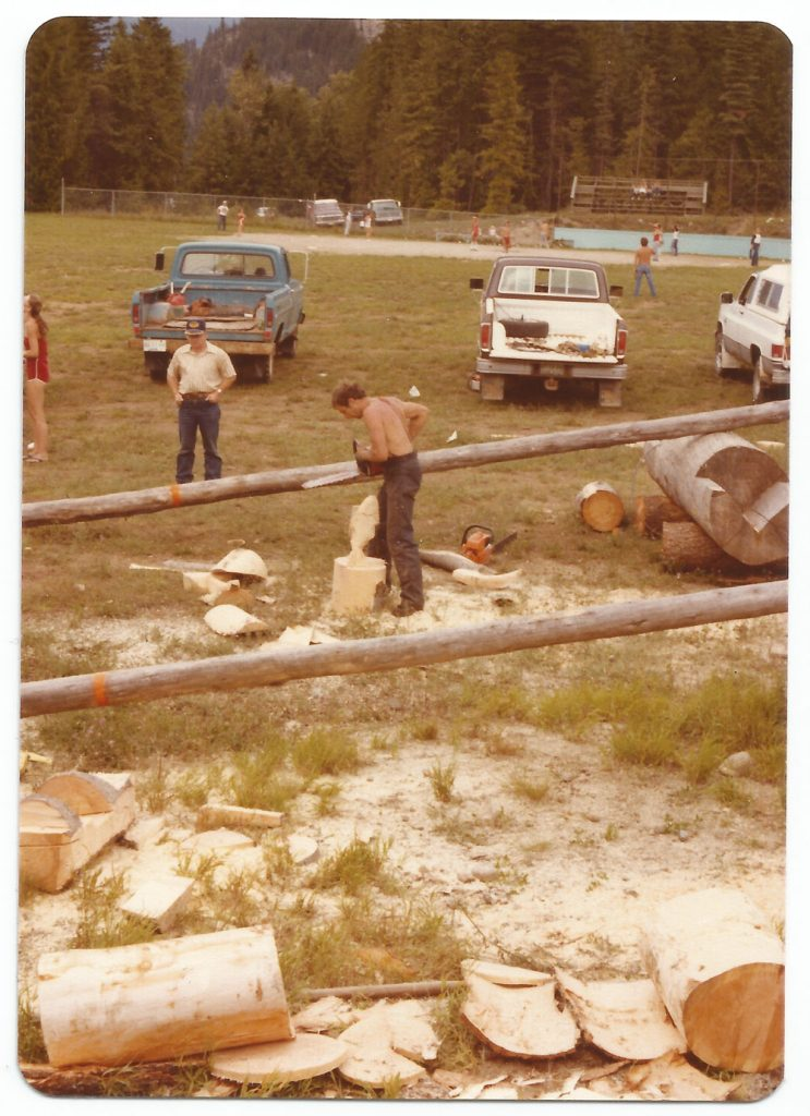Logger Sports in the foreground, ballgame in the background. This was at the Expo Park before there was a dedicated Logger Sports grounds. 1982