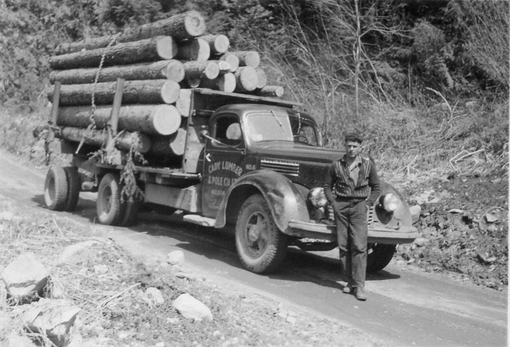 Cady Lumber and Pole Company, taking a load of logs off the mountain.