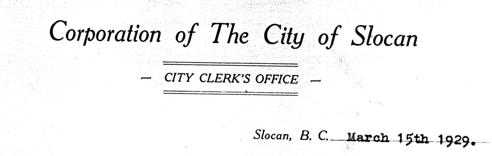City of Slocan Letterhead - 1929