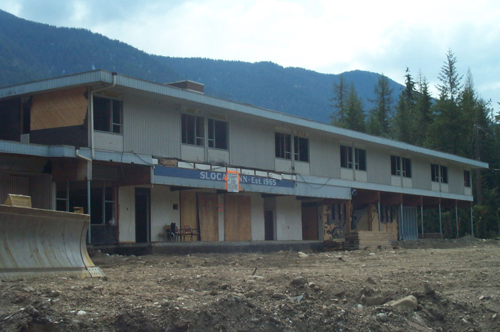 Slocan Inn, ready for demolition. The site was cleared and new condos were built.