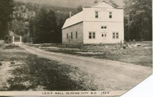 IOOF Hall, Slocan City c.1924