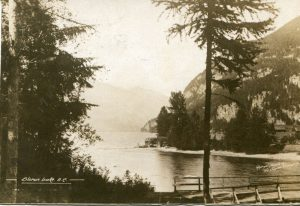 Slocan Lake and River from bridge c.1922
