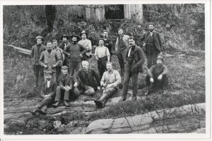 Survey crew for construction of CPR in the Slocan Valley circa 1897. Charles Moss in back row, right hand corner.