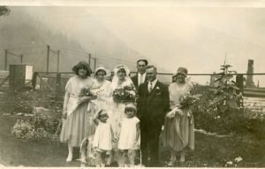 Lilly Morley's wedding at the CPR Station in Slocan City. 15 August 1930