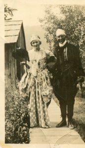 "Dressed up for the dance ""Bury the Depression"" in Slocan City. Jean Popoff and husband c.1930s"