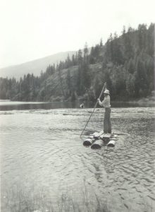 Monty Warner in the late 40s fishing near Lemon Creek