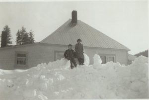 Warner Home (previously Cecchini) in Slocan - winter of 1956/7