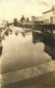 Slocan Flood - 1930s - view of Main Street looking south